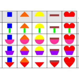matriz lógica com formas e cores