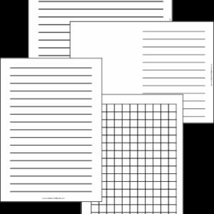 Modelos de folhas A4 pautadas para escrita e matemática. Acompanha capa em temas neutro, feminino e masculino.